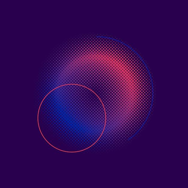 紫とピンクのハーフトーンバッジベクトル