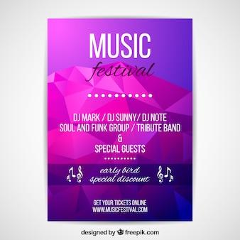 音楽パーティーのための紫とピンクのポスターコンセプト