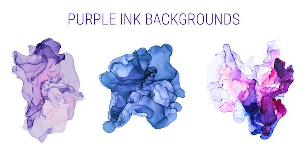 紫とピンクの色合いのインクの背景、ぬれた液体