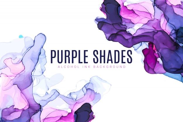 紫とピンクの色合いの水彩背景、ぬれた液体、手描きの背景水彩テクスチャ