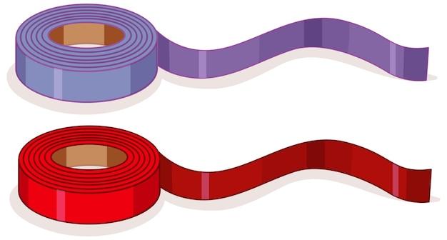 分離された紫と赤のリボンロール