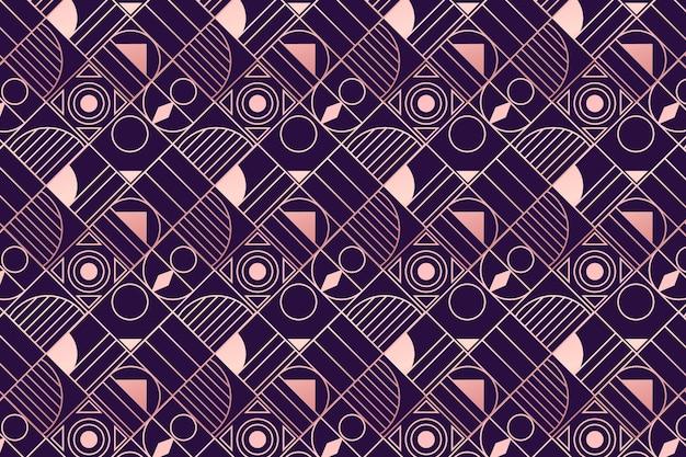 紫とローズゴールドのアールデコ調のパターン