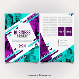Purple and turquoise business brochure design