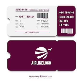 보라색과 흰색 탑승권 템플릿