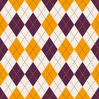 보라색과 노란색 다이아몬드 체크 도트 라인 패턴