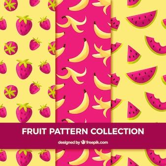 フルーツの部分を持つ紫色と黄色のパターン
