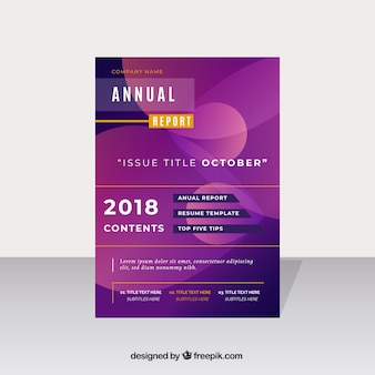 Purple annual report cover in gradient style