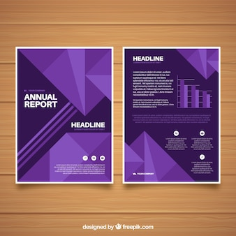 Purple annual report cover with geometric shapes