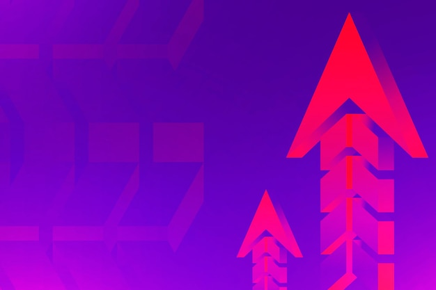 Sfondo freccia viola, bordo al neon, vettore di progettazione di sviluppo aziendale