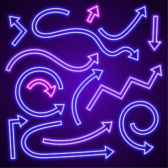 Purple arrow neon vector set.