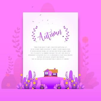 Purple Autumn Floral Beautiful Gradient Flowers for Invitation Card