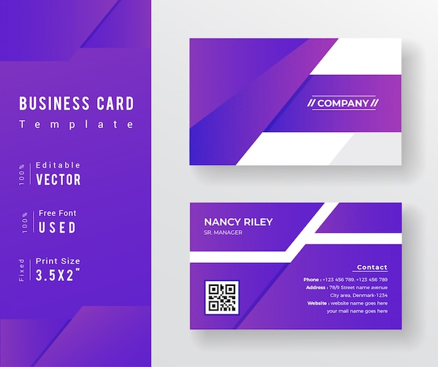 Purple background gradient business card template