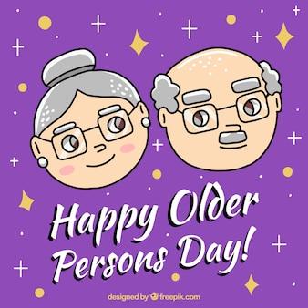 Purple background of hand drawn elderly