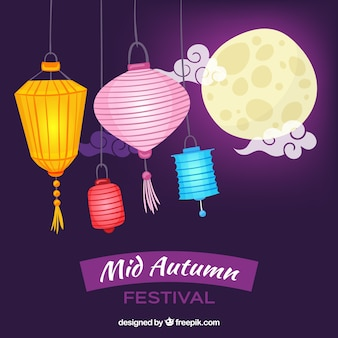 Purple background, mid autumn festival