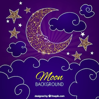 Purple background moon design