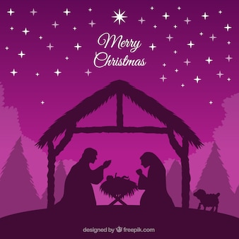 Purple background of nativity scene silhouette