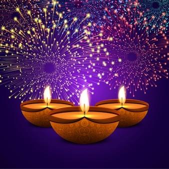 花火とディワリの紫色の背景