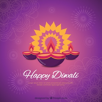 Purple background of happy diwali with candles