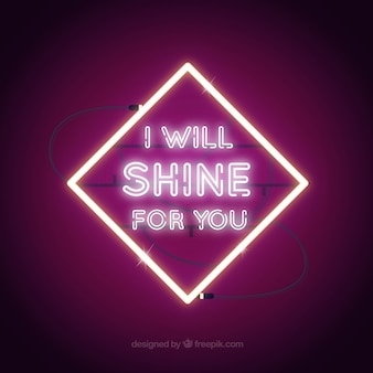 Purple background of neon lights frame with message