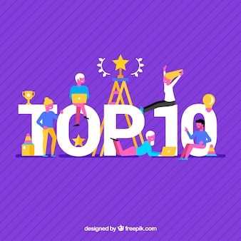 Purple background of top ten with people