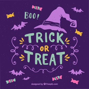 Purple background of trick or treat
