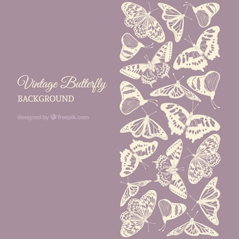 Purple background with butterflies in pastel color