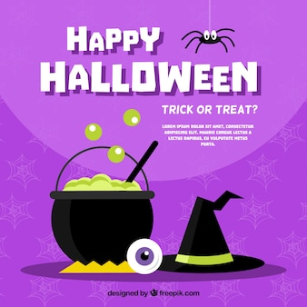 Purple background with cauldron and witch hat