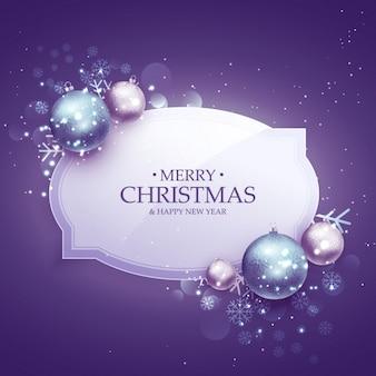 現実的なボールと紫の色合いの美しいメリークリスマス装飾背景