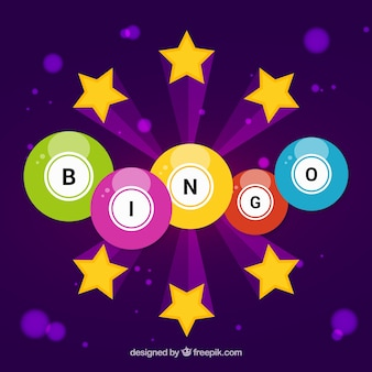 Purple background with colorful bingo balls and stars