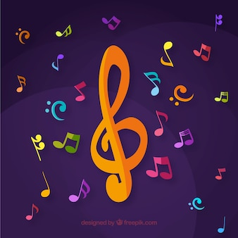 Purple background with colorful musical notes and treble clef