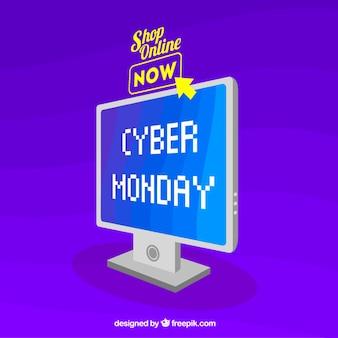 사이버 월요일 컴퓨터와 보라색 배경