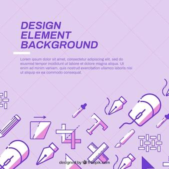 디자인 요소와 보라색 배경