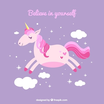 Purple background with flying unicorn