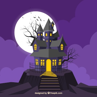 Purple background with haunted house