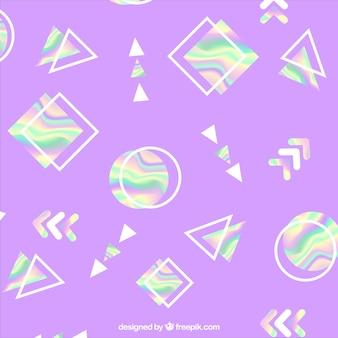 ホログラフィック幾何学的形状を持つ紫色の背景