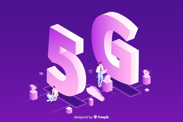 Purple background with isometric 5g concept
