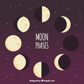Purple background with moon phases in flat design