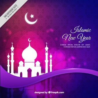 Purple background with mosque of islamic new year