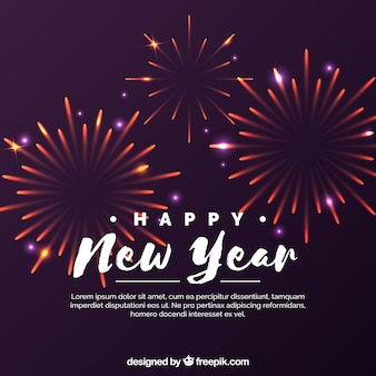 Purple background with new year fireworks