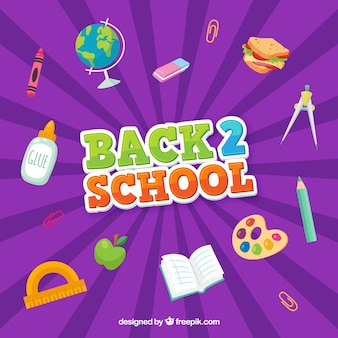Purple background with school elements