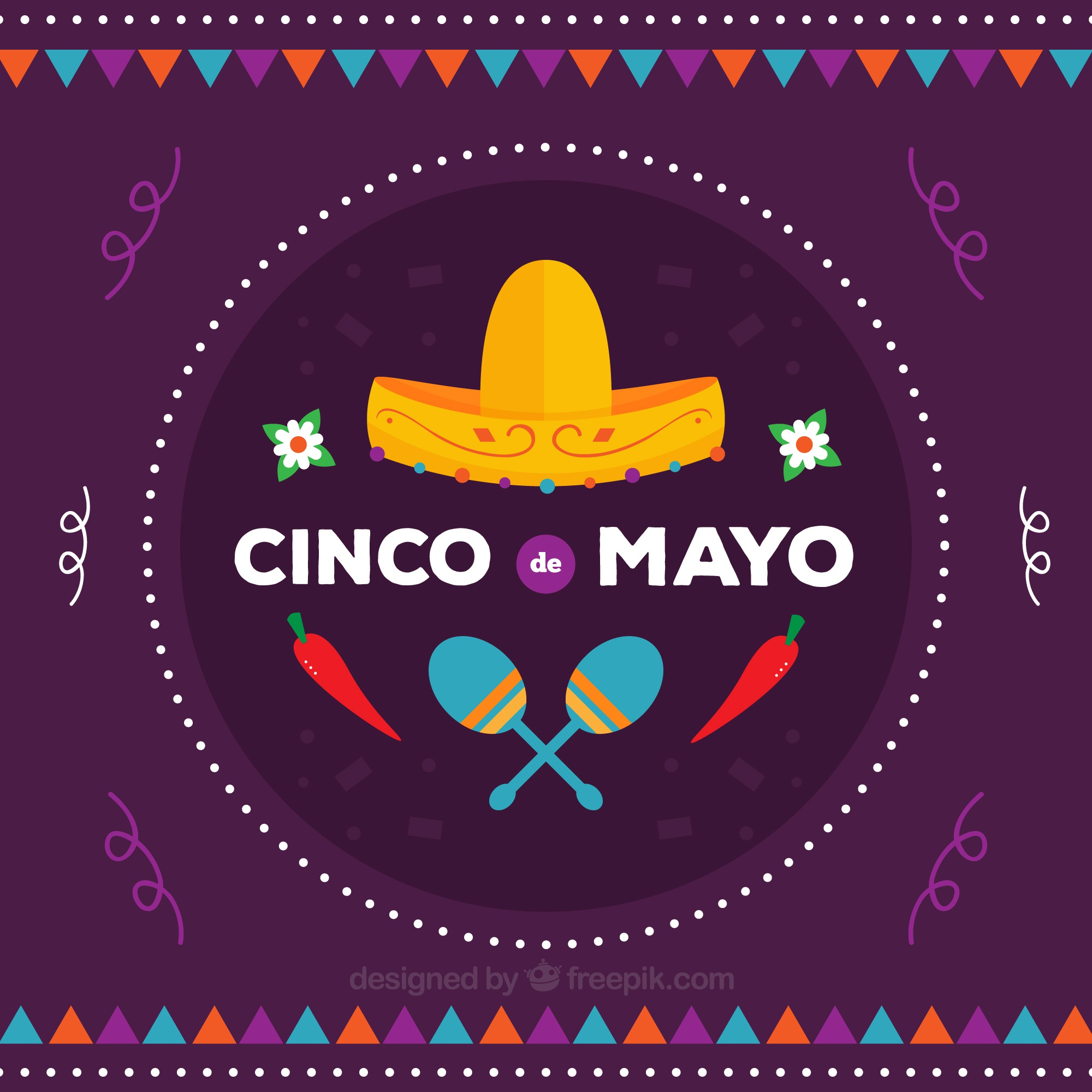 Purple background with traditional mexican elements in flat design