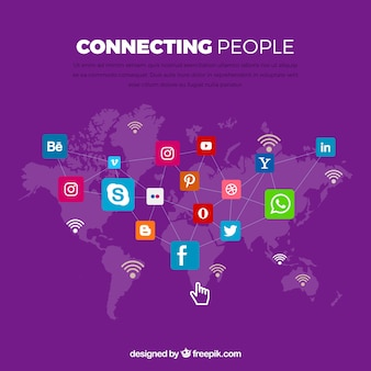 Purple background with world map and icons of social networks
