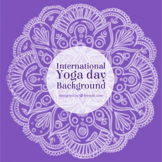 Purple background yoga day