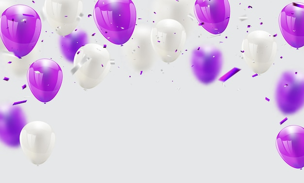 Purple balloons confetti and ribbons,