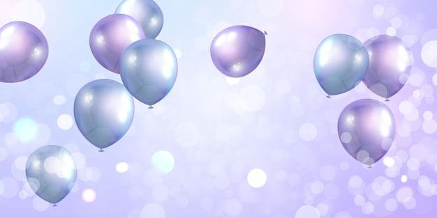 紫色の風船の名声コンセプトデザインバナーテンプレート