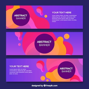 Purple banners with abstract shapes of colors