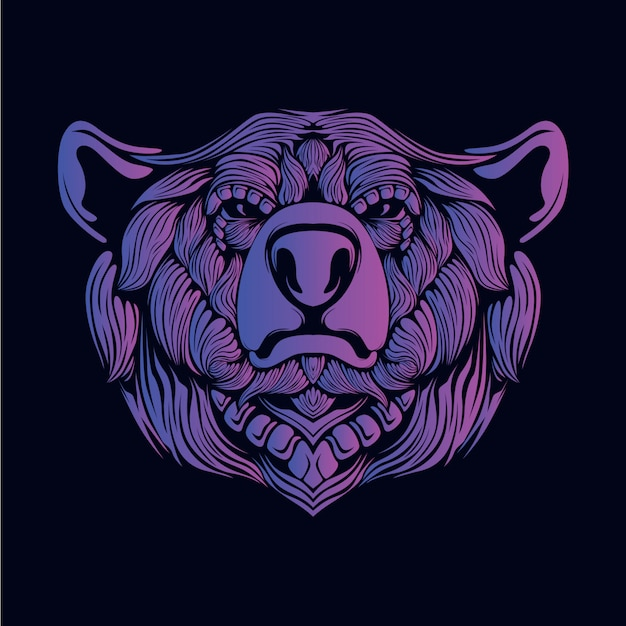Purple bear head illustration