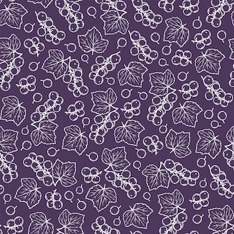 Purple black currant benefits berry nature hand drawn seamless pattern vector illustration for print fabric and decoration