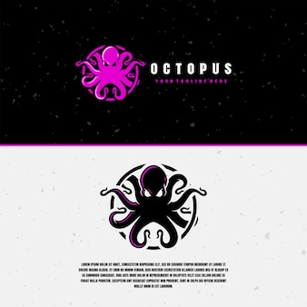 Purple and black octopus logo template