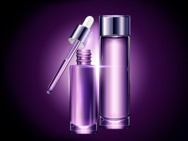 紫色の空の容器セット、イラスト、液滴、トナーボトルで使用するための化粧品